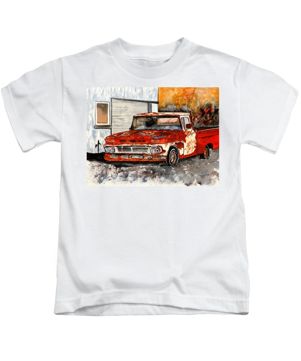 Transportation Kids T-Shirt featuring the painting Antique Old Truck Painting by Derek Mccrea