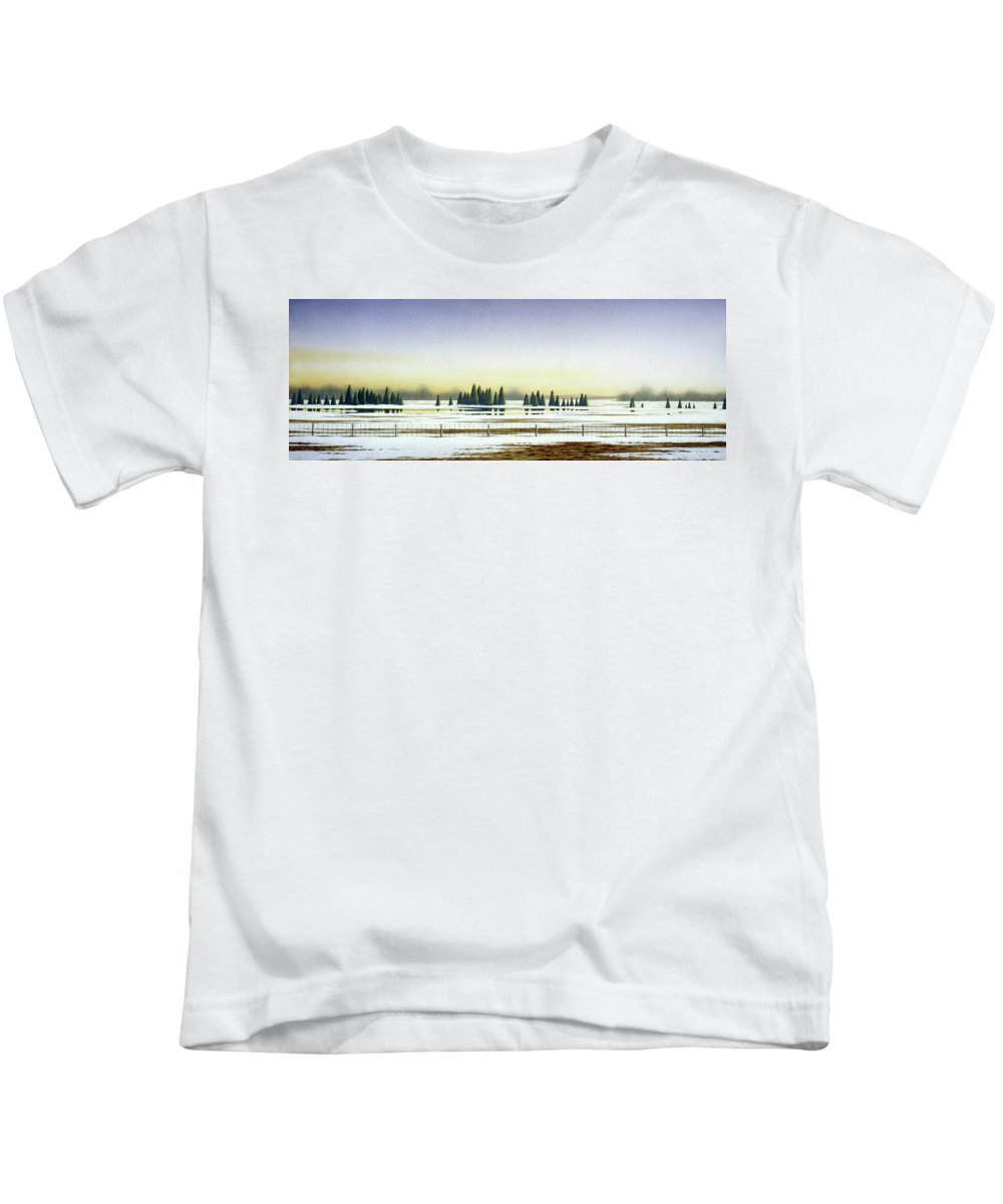 Rural Landscape Kids T-Shirt featuring the painting April Evening by Conrad Mieschke