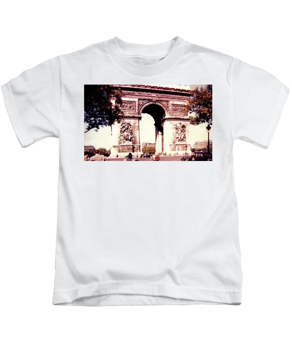 1955 Kids T-Shirt featuring the photograph Arc de Triomphe 1955 by Will Borden