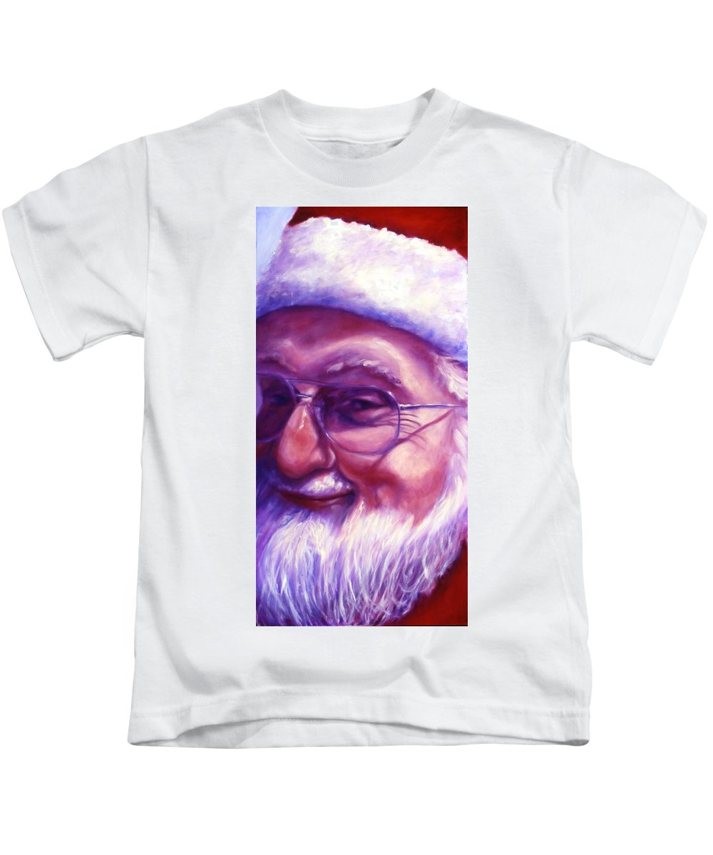 Portrait Kids T-Shirt featuring the painting Are You Sure You Have Been Nice by Shannon Grissom