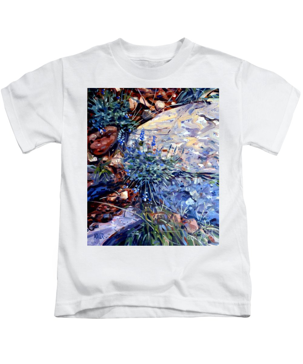Blue Lupens Kids T-Shirt featuring the painting Arizona Flora Study by Donald Maier