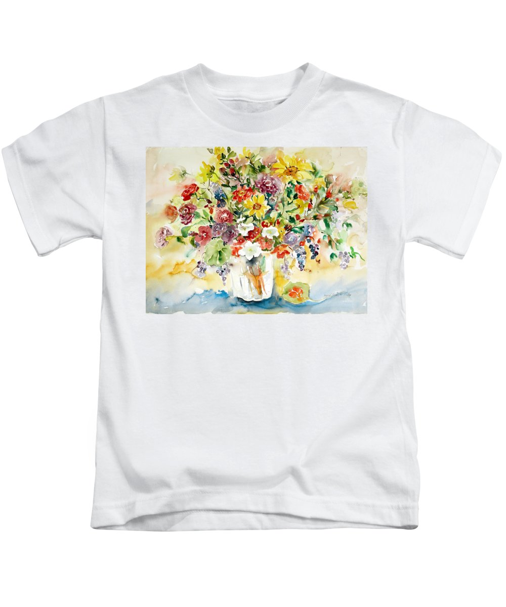 Watercolor Kids T-Shirt featuring the painting Arrangement IIi by Ingrid Dohm