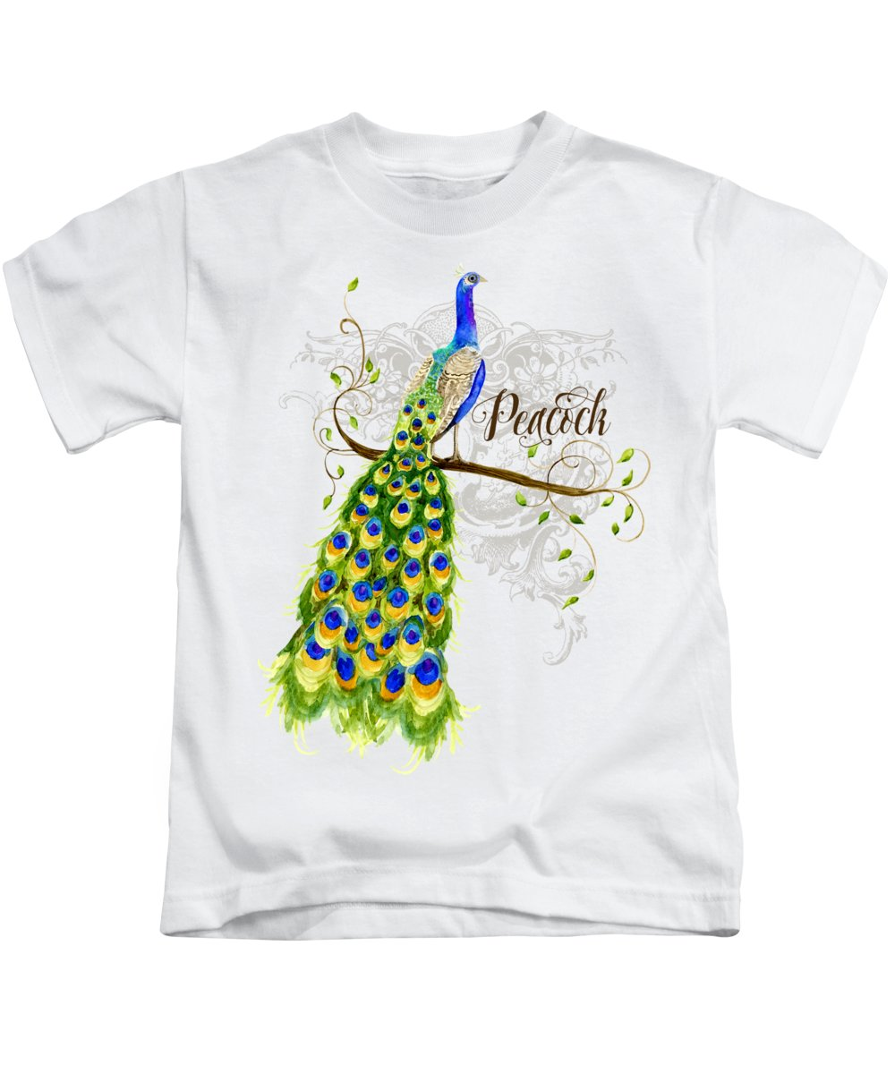 Art Nouveau Kids T-Shirt featuring the painting Art Nouveau Peacock W Swirl Tree Branch And Scrolls by Audrey Jeanne Roberts