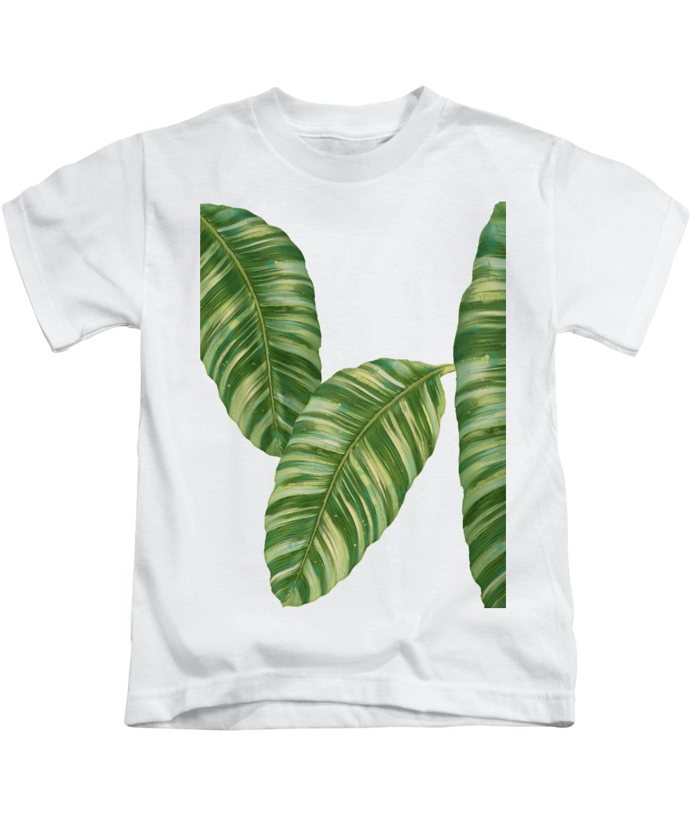Tropical Kids T-Shirt featuring the painting Rainforest Resort - Tropical Banana Leaf by Audrey Jeanne Roberts