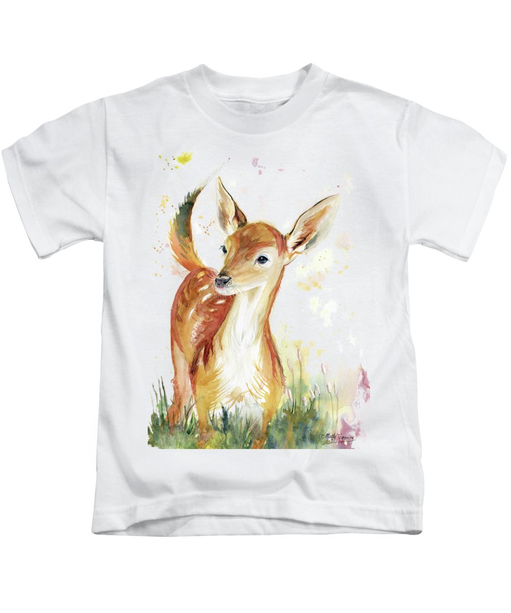 Little Deer Kids T-Shirt featuring the painting Little Deer by Melly Terpening