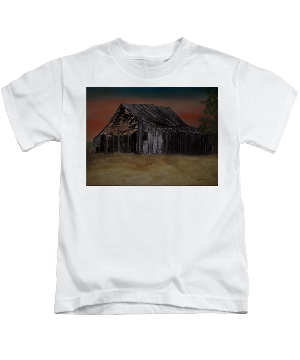 Abandoned Kids T-Shirt featuring the painting As Darkness Falls by Mike Parsons