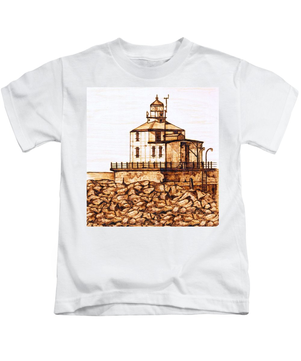 Lighthouse Kids T-Shirt featuring the pyrography Ashtabula Harbor by Danette Smith