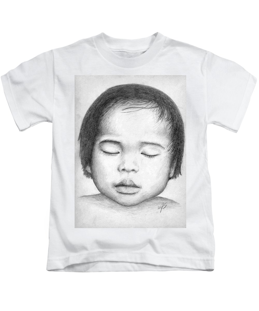 Baby Kids T-Shirt featuring the drawing Asian Baby by Nicole Zeug
