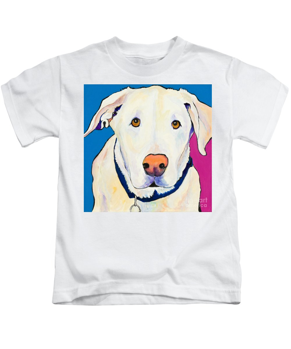 White Lab Yellow Lab Animal Paintings Golden Eyes Square Format Dogs Pets Rescued Kids T-Shirt featuring the painting Aslinn by Pat Saunders-White