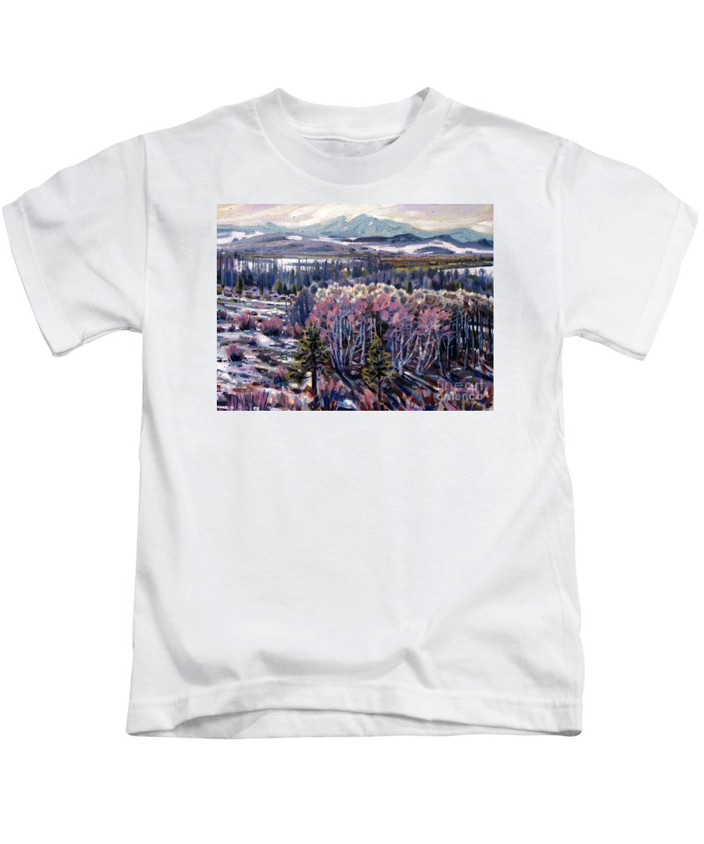Aspen Kids T-Shirt featuring the painting Aspen In April by Donald Maier