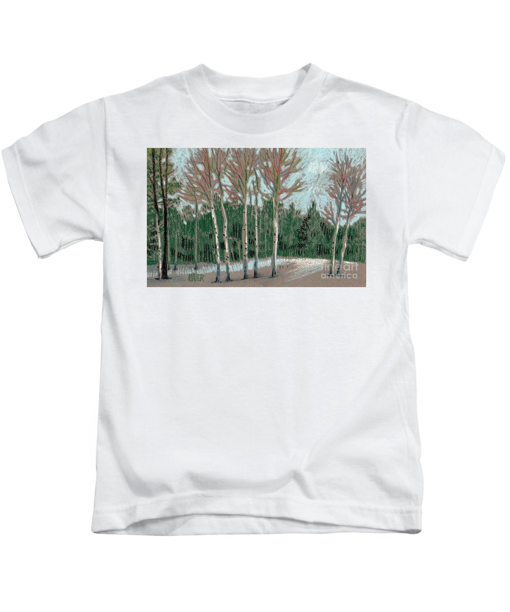 Aspens Kids T-Shirt featuring the drawing Aspen In The Snow by Donald Maier