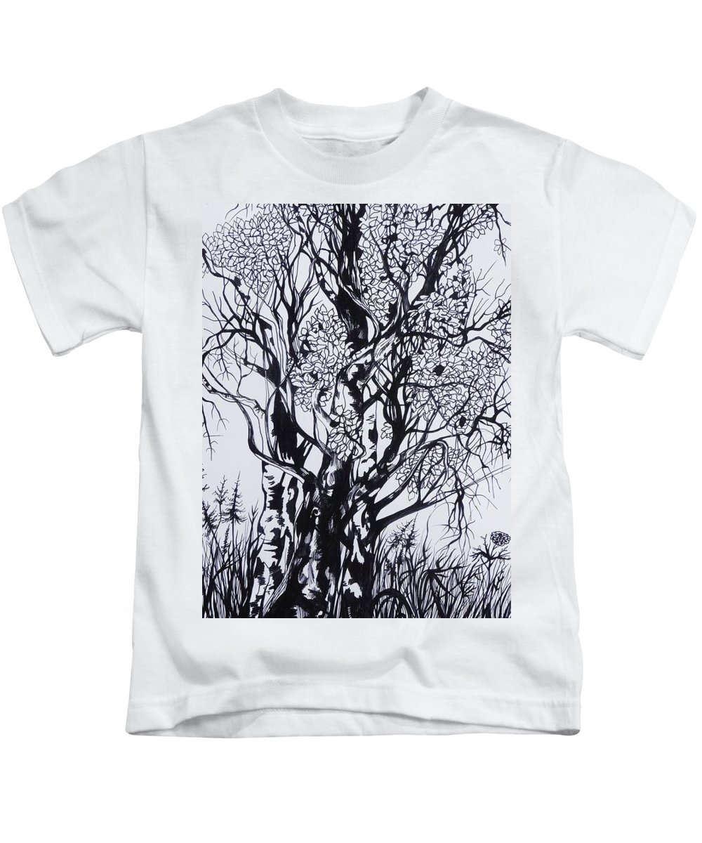 Ink And Pen Kids T-Shirt featuring the drawing Aspens by Anna Duyunova