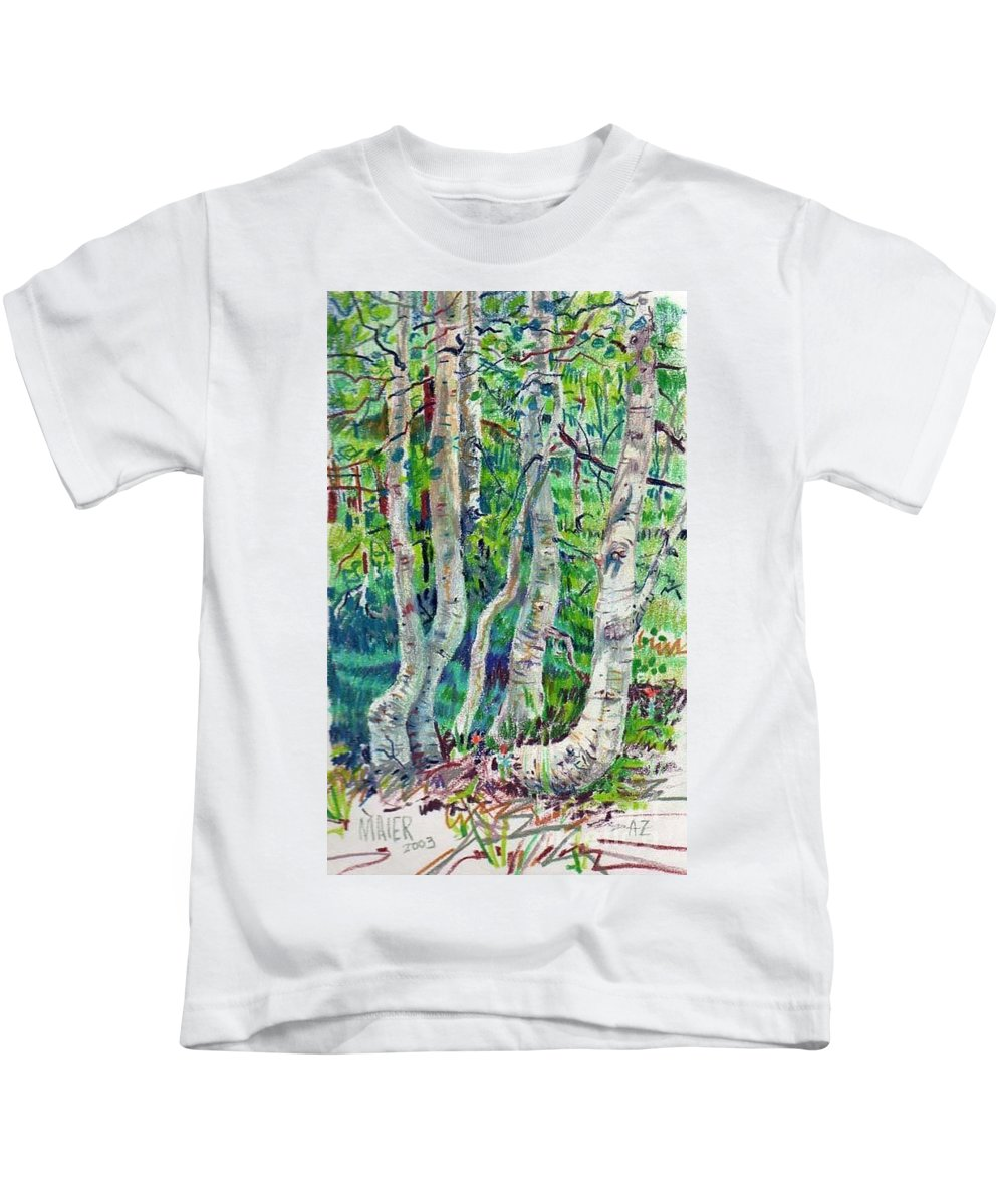 Aspens Kids T-Shirt featuring the drawing Aspens by Donald Maier