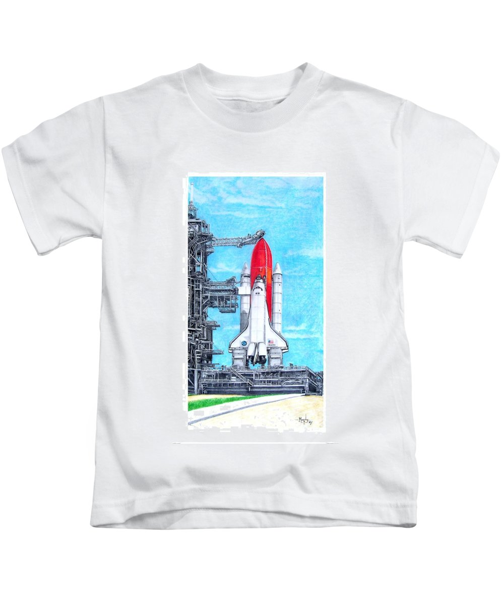 Drawing Kids T-Shirt featuring the drawing Atlantis by Murphy Elliott