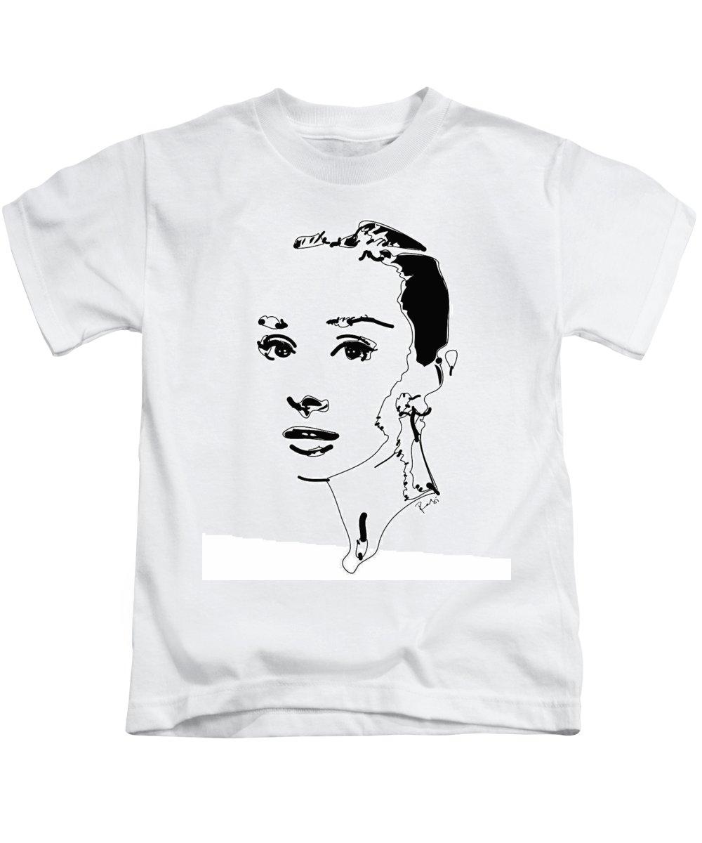 Actress Kids T-Shirt featuring the digital art Audrey Hepburn by Rabi Khan