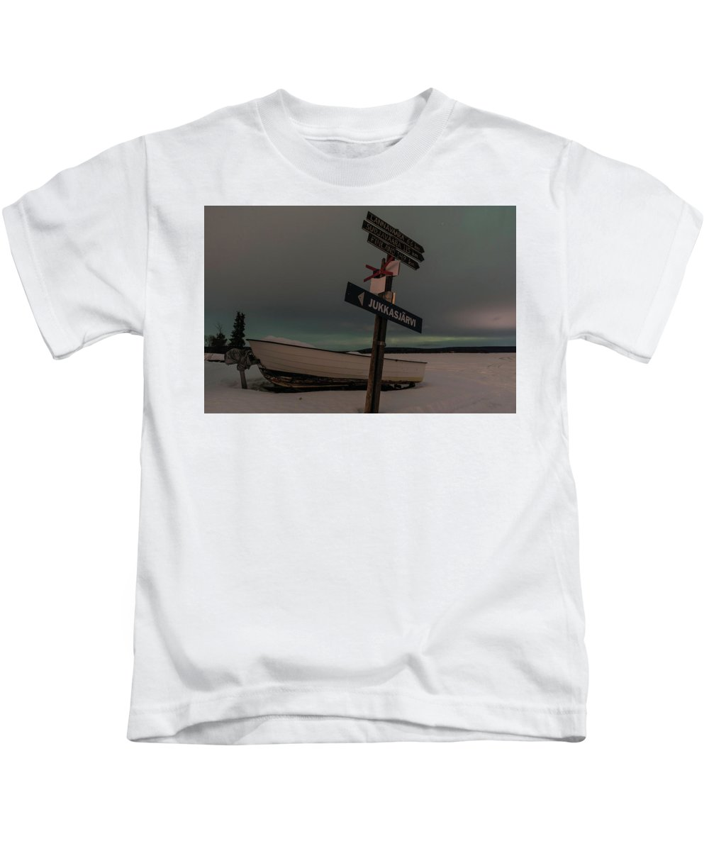 Landscape Kids T-Shirt featuring the photograph Aurora Nights In Kiruna by Christopher Carthern