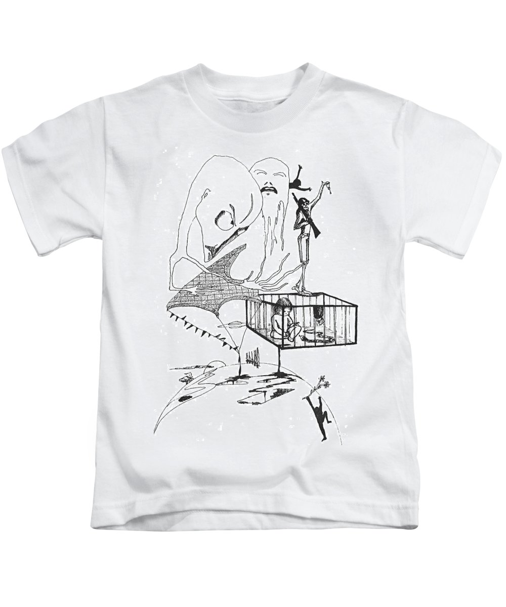 Drawing Pen Automatism Kids T-Shirt featuring the drawing Automatism by Veronica Jackson