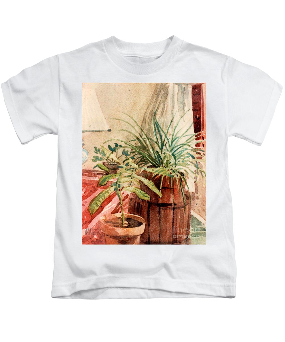 Potted Plants Kids T-Shirt featuring the painting Avacado And Spider Plant by Donald Maier