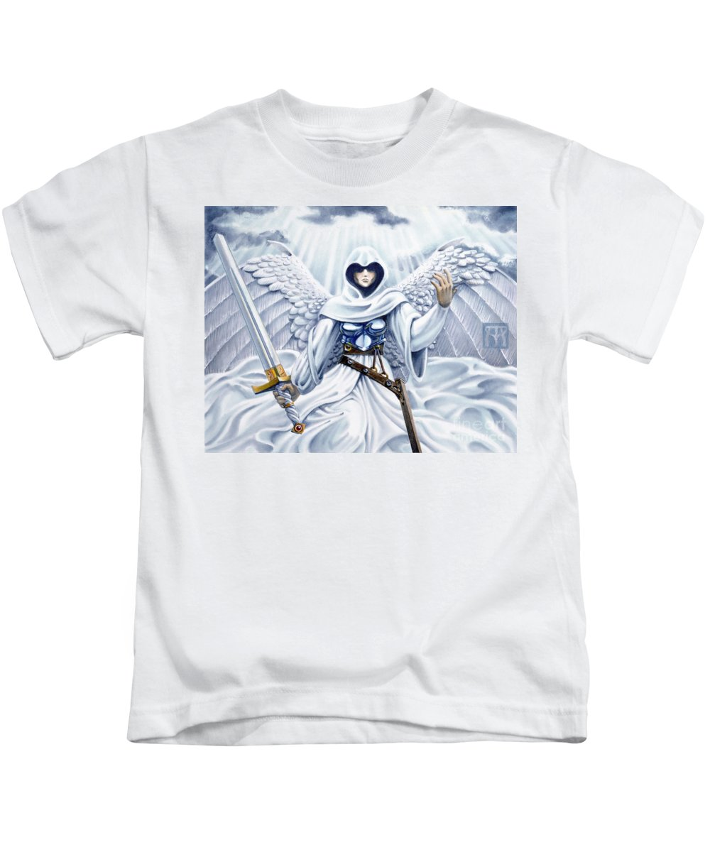 Angel Kids T-Shirt featuring the painting Avenging Angel by Melissa A Benson