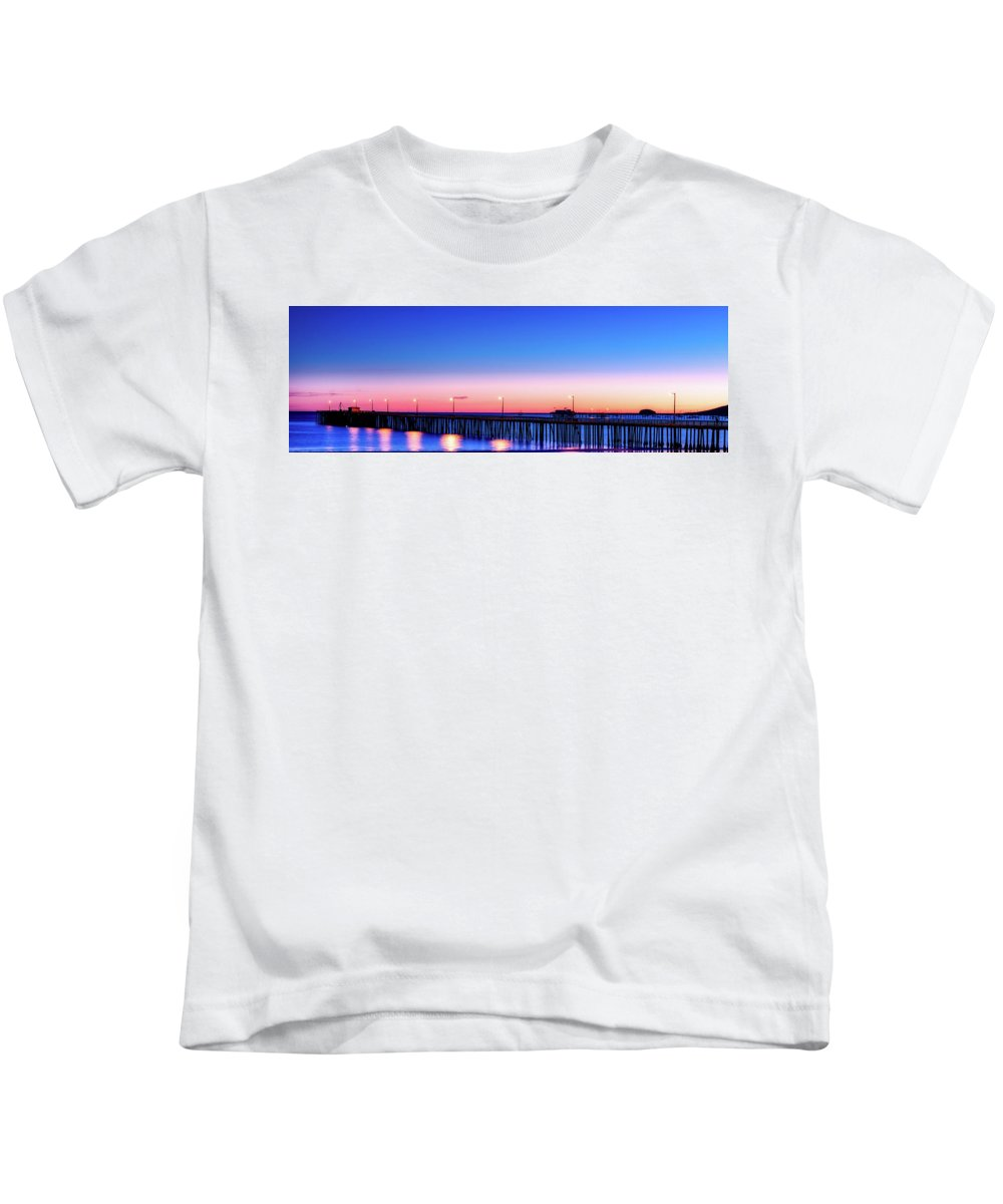 Sea Kids T-Shirt featuring the photograph Avila Beach Pier At Sunset by Mountain Dreams