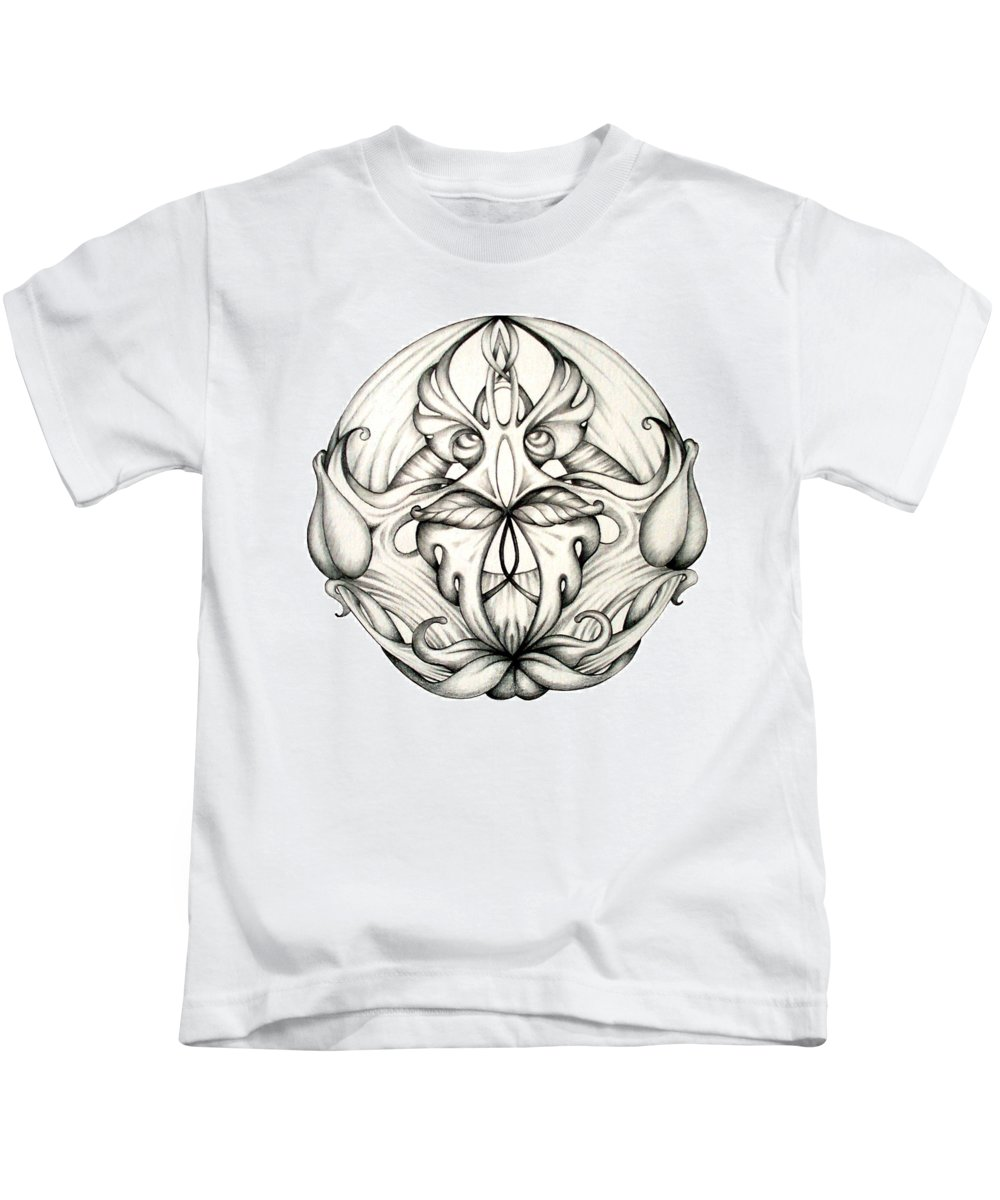 Mandala Kids T-Shirt featuring the drawing Awakening by Shadia Derbyshire