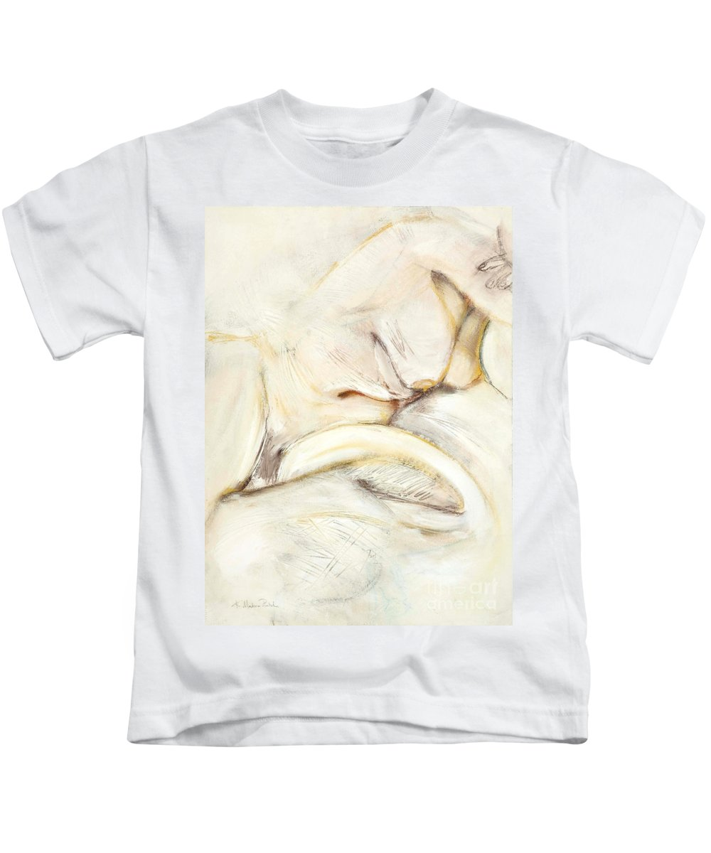 Female Kids T-Shirt featuring the drawing Award Winning Abstract Nude by Kerryn Madsen-Pietsch