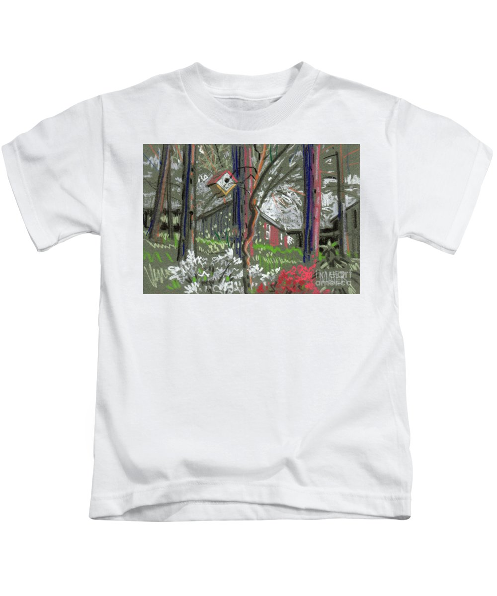 Azalea Kids T-Shirt featuring the drawing Azaleas In Spring by Donald Maier