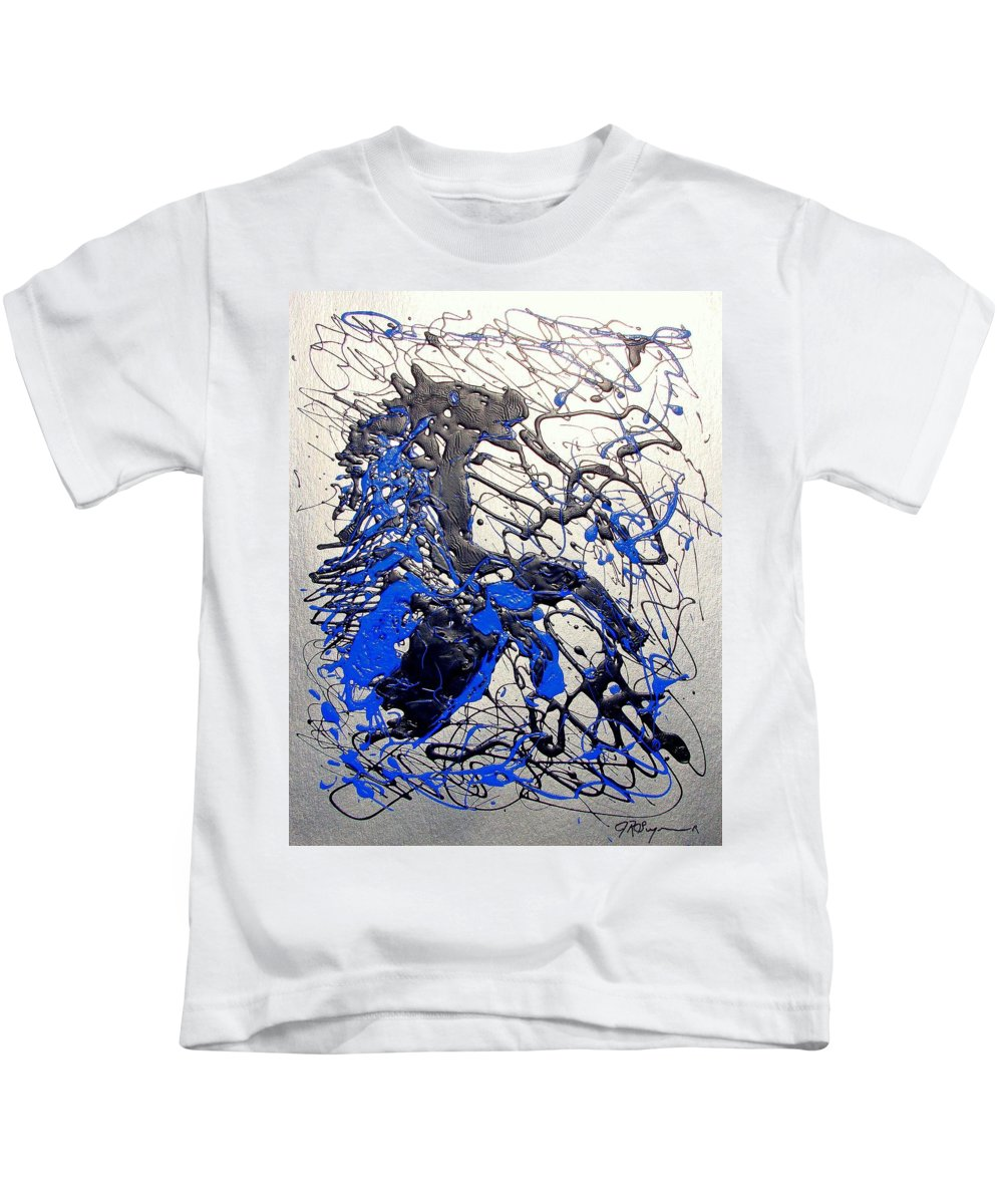 Stallion Horse Kids T-Shirt featuring the painting Azul Diablo by J R Seymour