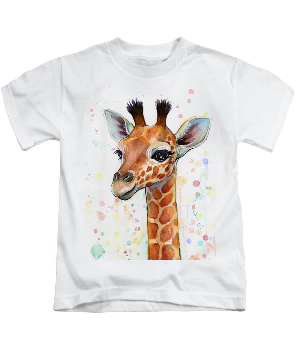 Watercolor Kids T-Shirt featuring the painting Baby Giraffe Watercolor by Olga Shvartsur