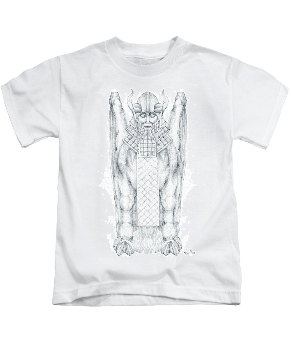 Babylonian Kids T-Shirt featuring the drawing Babylonian Sphinx Lamassu by Curtiss Shaffer