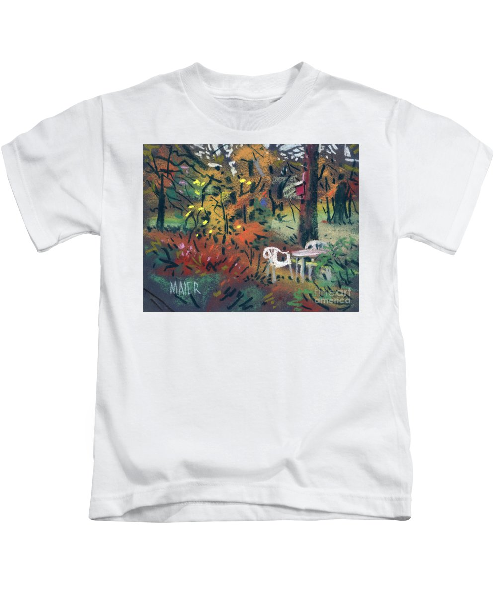 Pastel Kids T-Shirt featuring the painting Backyard In Autumn by Donald Maier