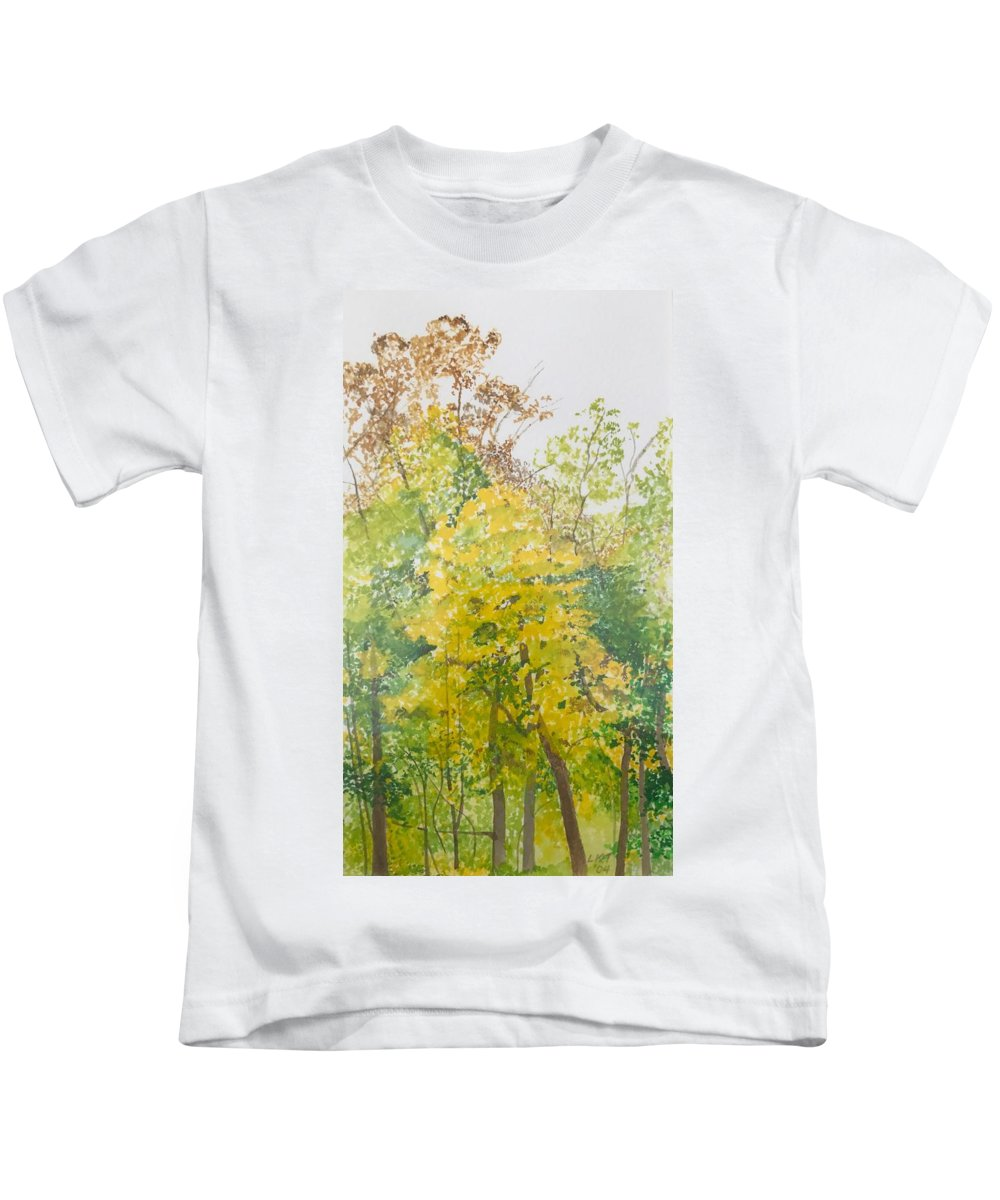 Autumn Kids T-Shirt featuring the painting Backyard by Leah Tomaino