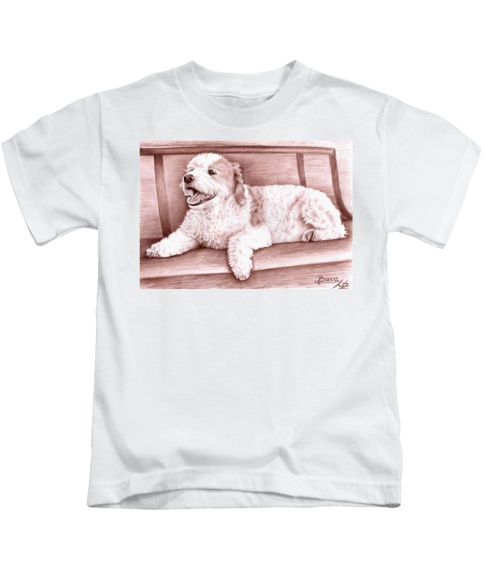 Dog Kids T-Shirt featuring the drawing Baco by Nicole Zeug