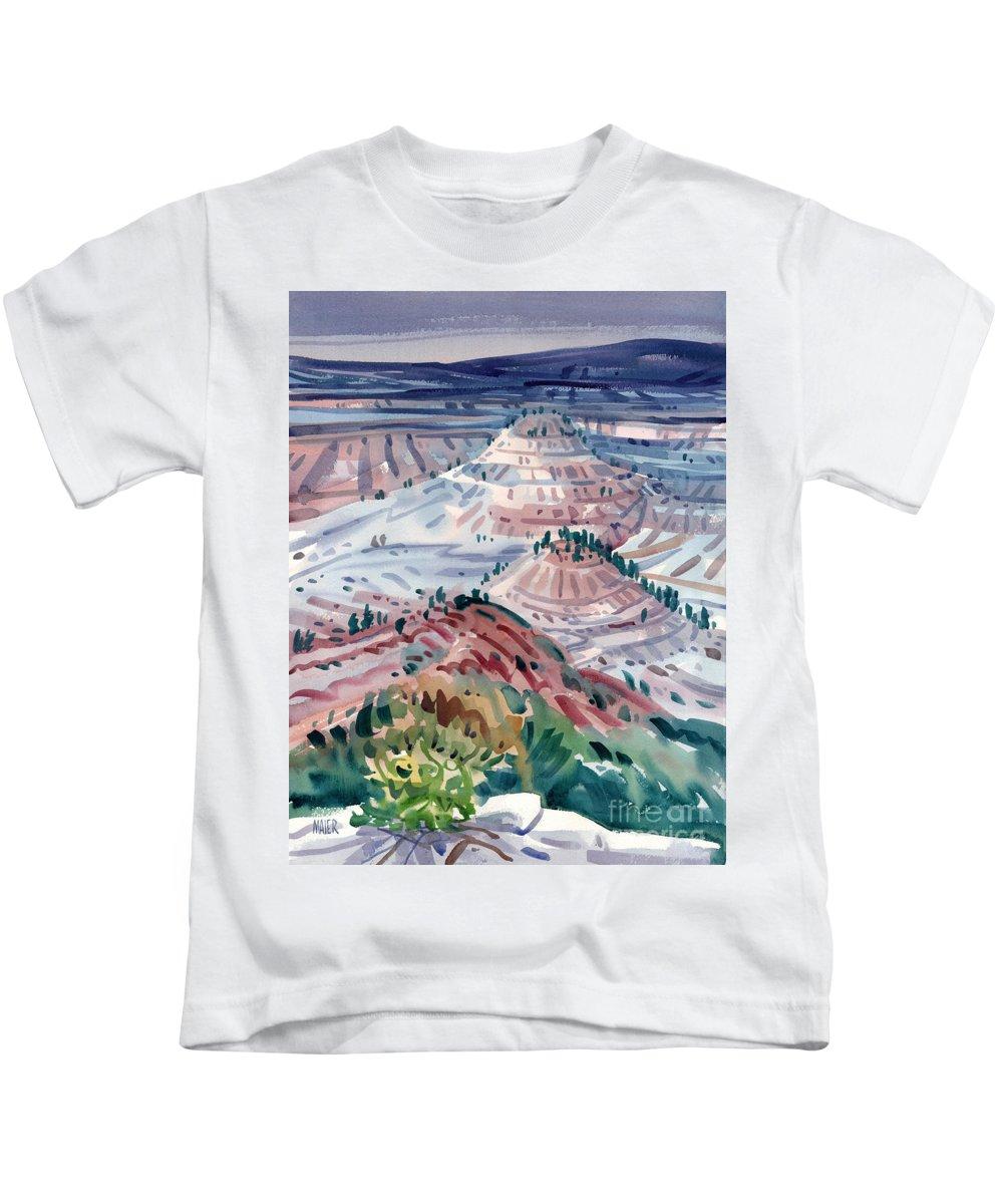 South Dakota Kids T-Shirt featuring the painting Badlands Of South Dakota by Donald Maier