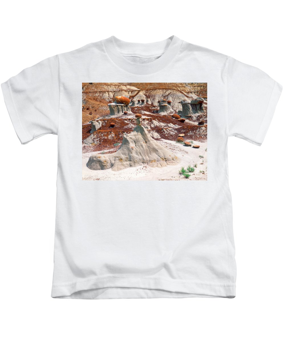 Cannonball Concretion Kids T-Shirt featuring the photograph Badlands, Theodore Roosevelt Np by Willard Clay