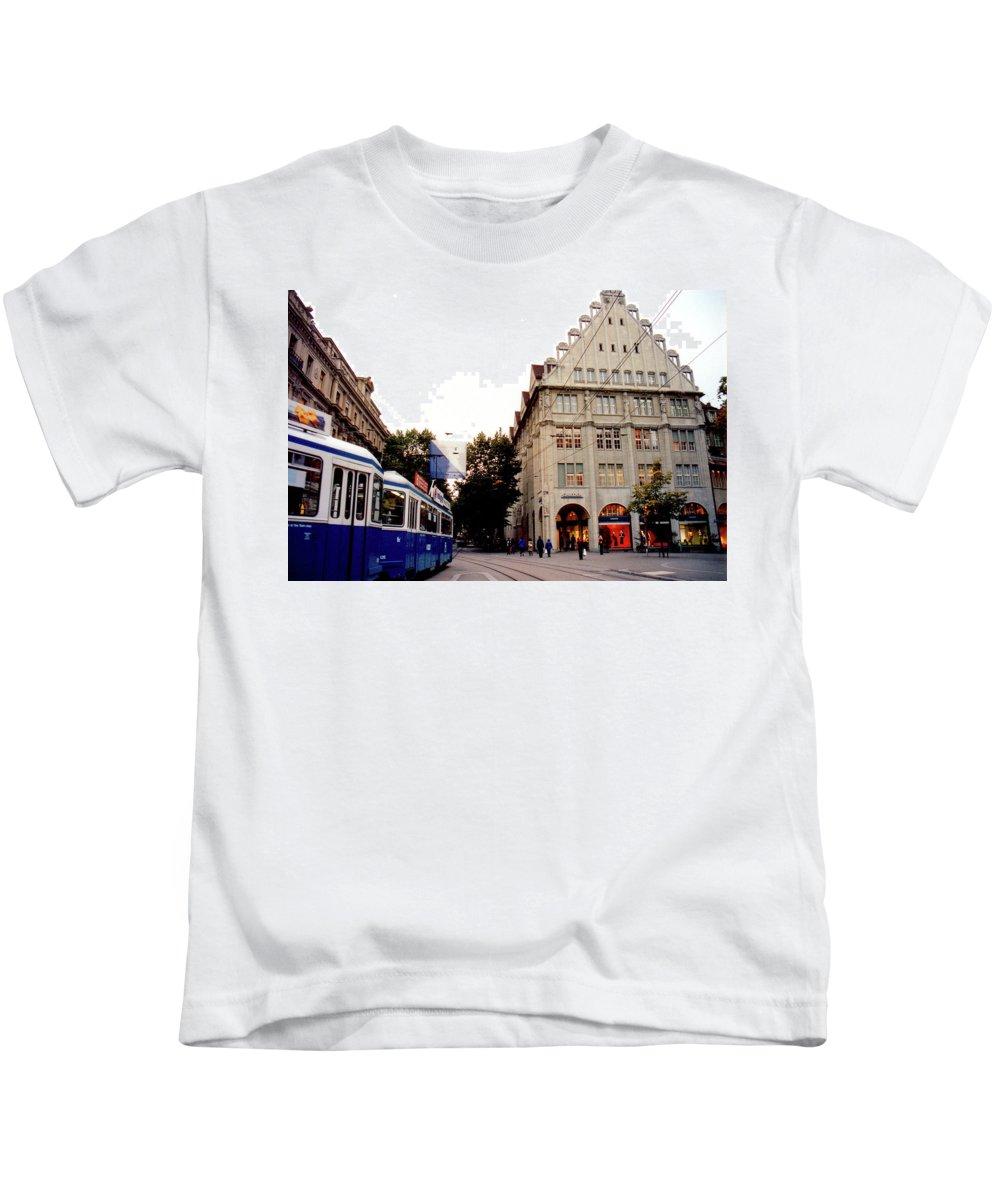 Zurich Kids T-Shirt featuring the photograph Bahnhofstrasse Zurich by Susanne Van Hulst