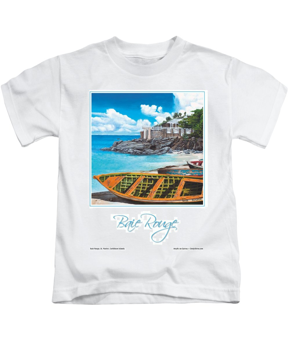 Baie Rouge Kids T-Shirt featuring the painting Baie Rouge Poster by Cindy D Chinn