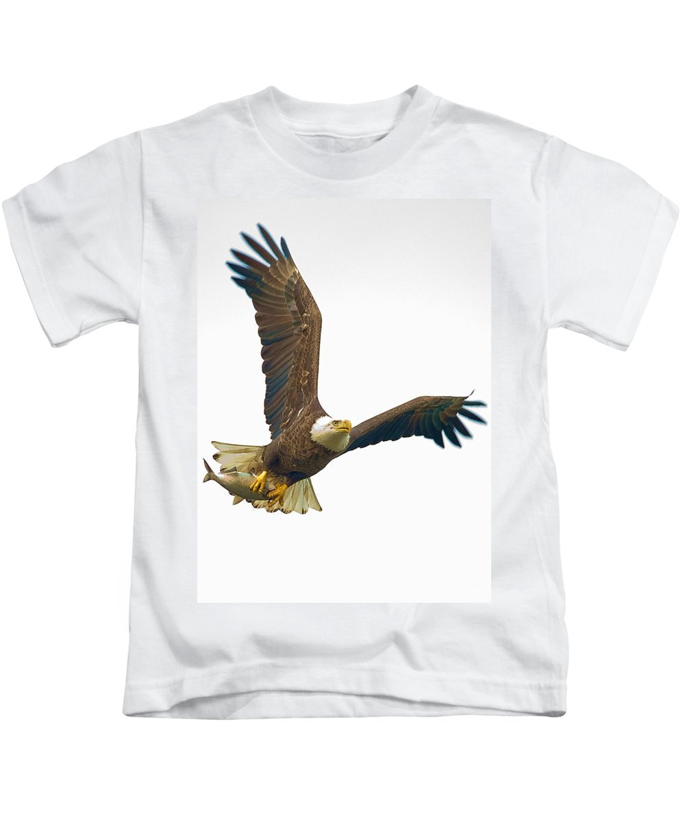 Eagle Kids T-Shirt featuring the photograph Bald Eagle With Fish by William Jobes