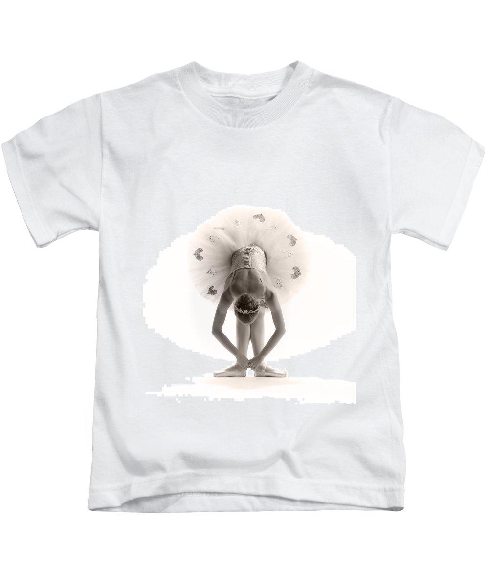 Ballerina Kids T-Shirt featuring the photograph Ballerina Bent by Steve Williams