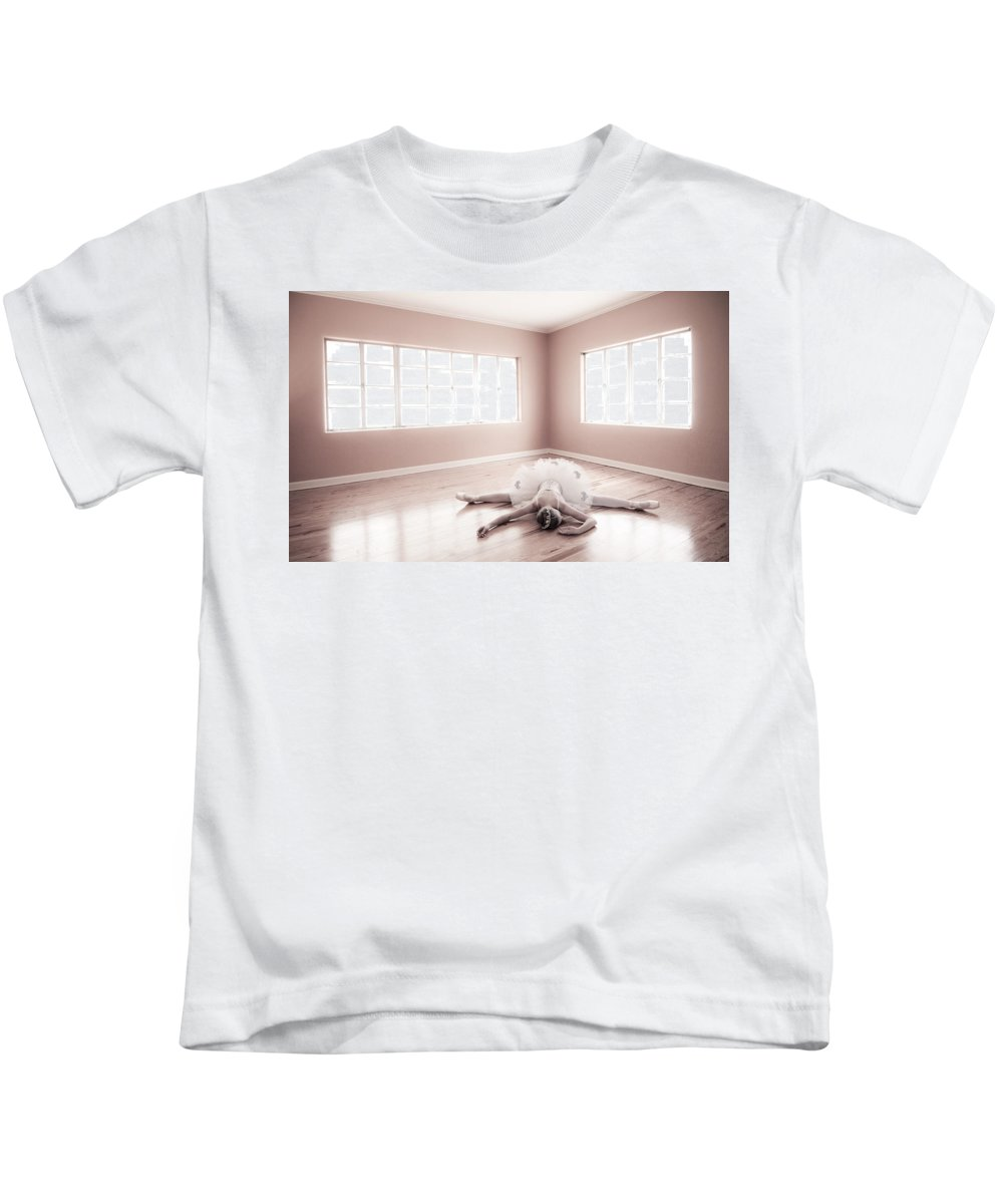 Ballerina Kids T-Shirt featuring the photograph Ballerina Down by Steve Williams