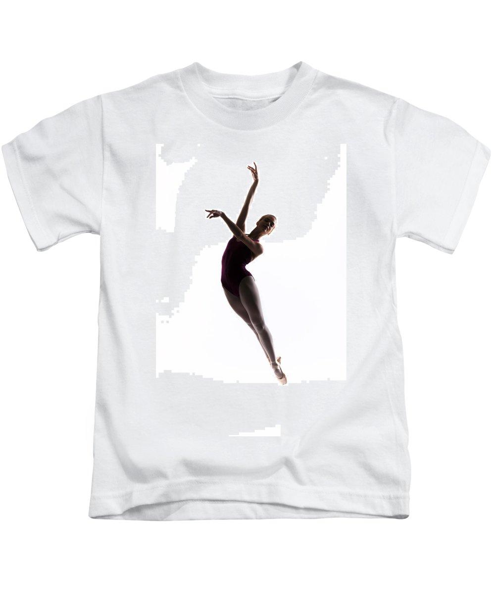 Ballerina Kids T-Shirt featuring the photograph Ballerina Jump by Steve Williams