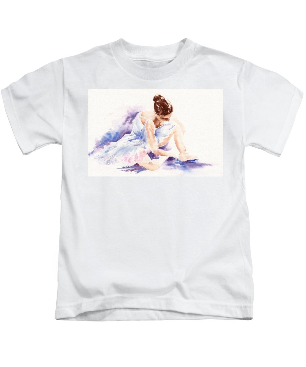 Ballerina Kids T-Shirt featuring the painting Ballerina by Stephie Butler