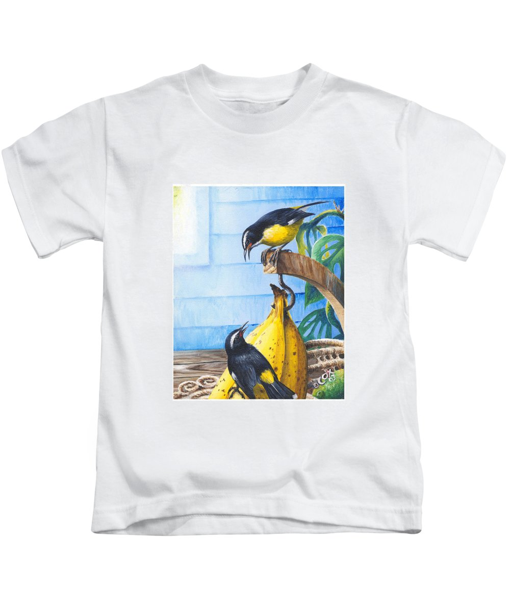 Chris Cox Kids T-Shirt featuring the painting Bananaquits And Bananas by Christopher Cox