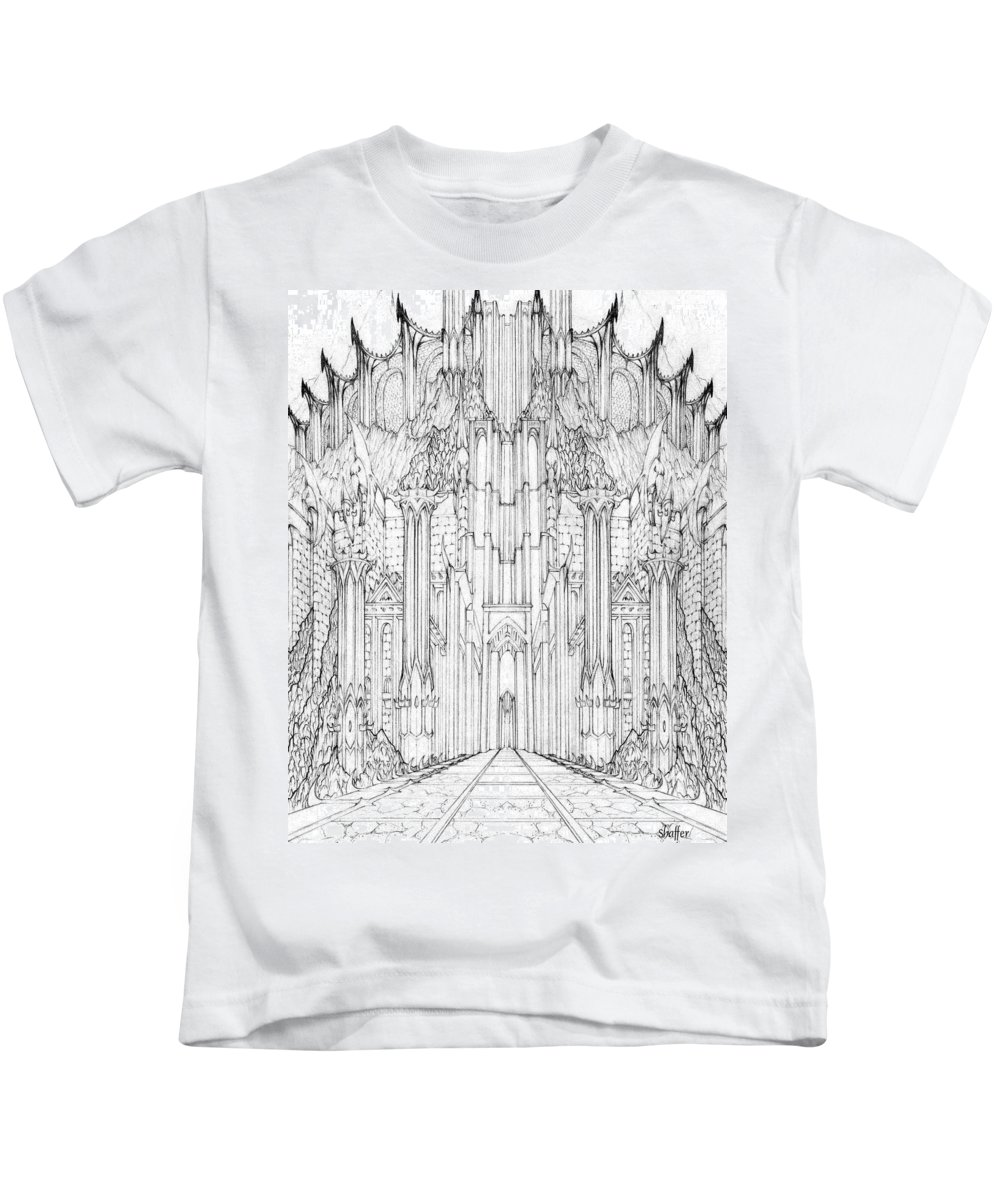 Barad-dur Kids T-Shirt featuring the drawing Barad-dur Gate Study by Curtiss Shaffer