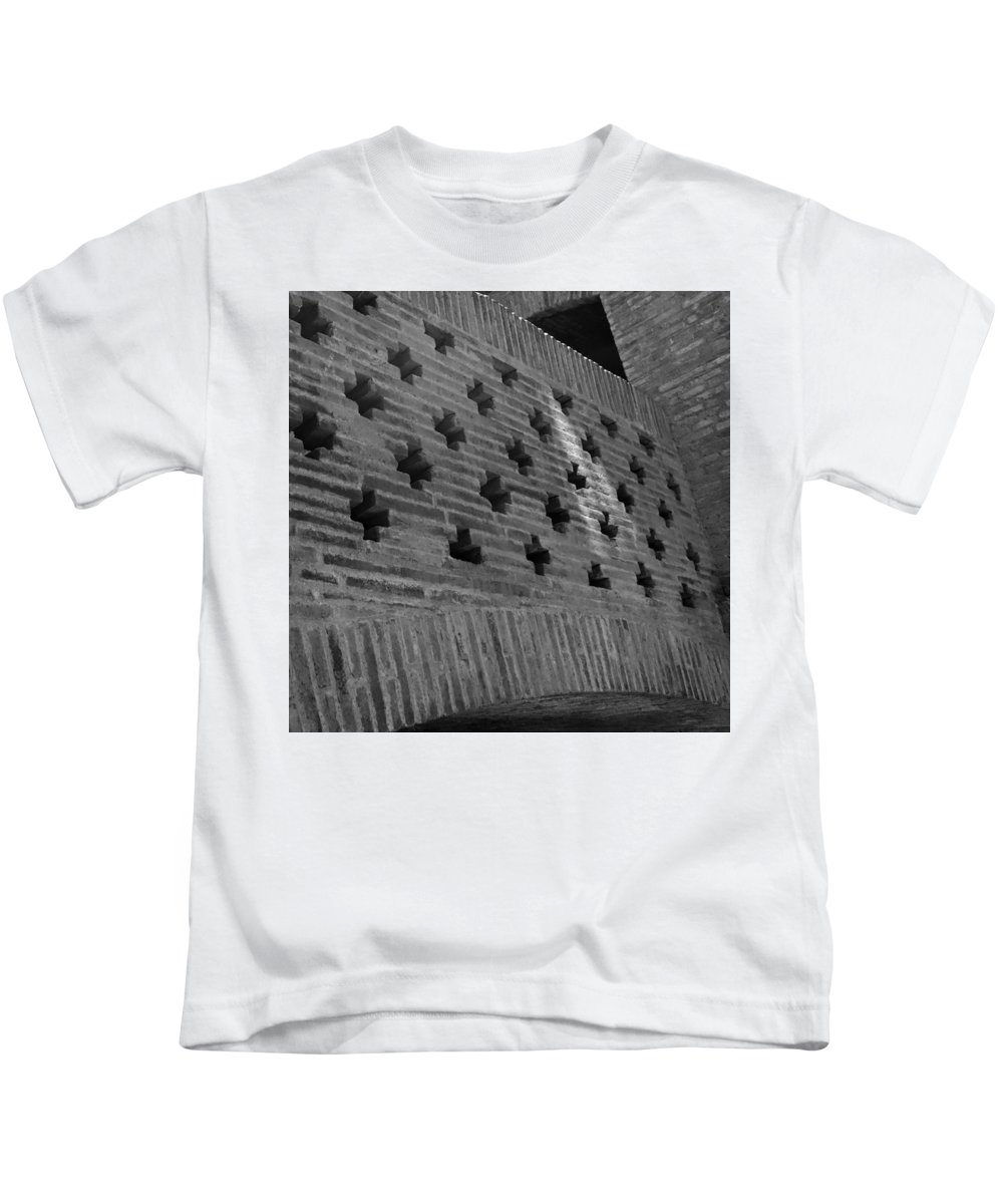 Barcelona Kids T-Shirt featuring the photograph Barcelona Brick Wall by Toby McGuire