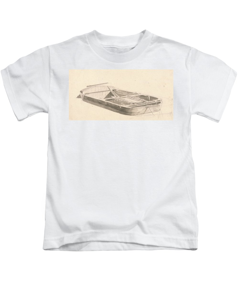 Paul Sandby Kids T-Shirt featuring the drawing Barge by Paul Sandby