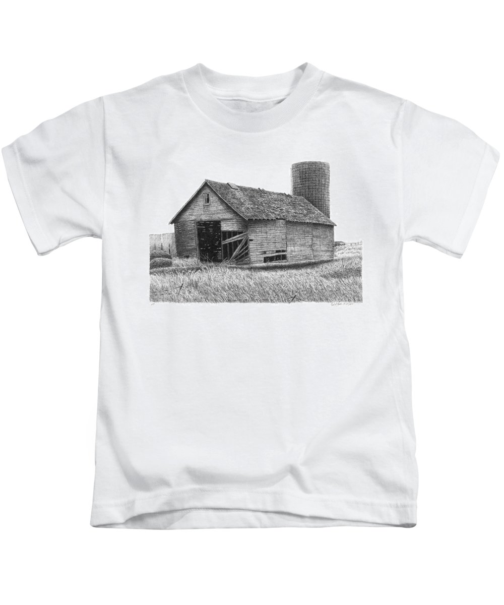 Barn Kids T-Shirt featuring the drawing Barn 19 by Joel Lueck