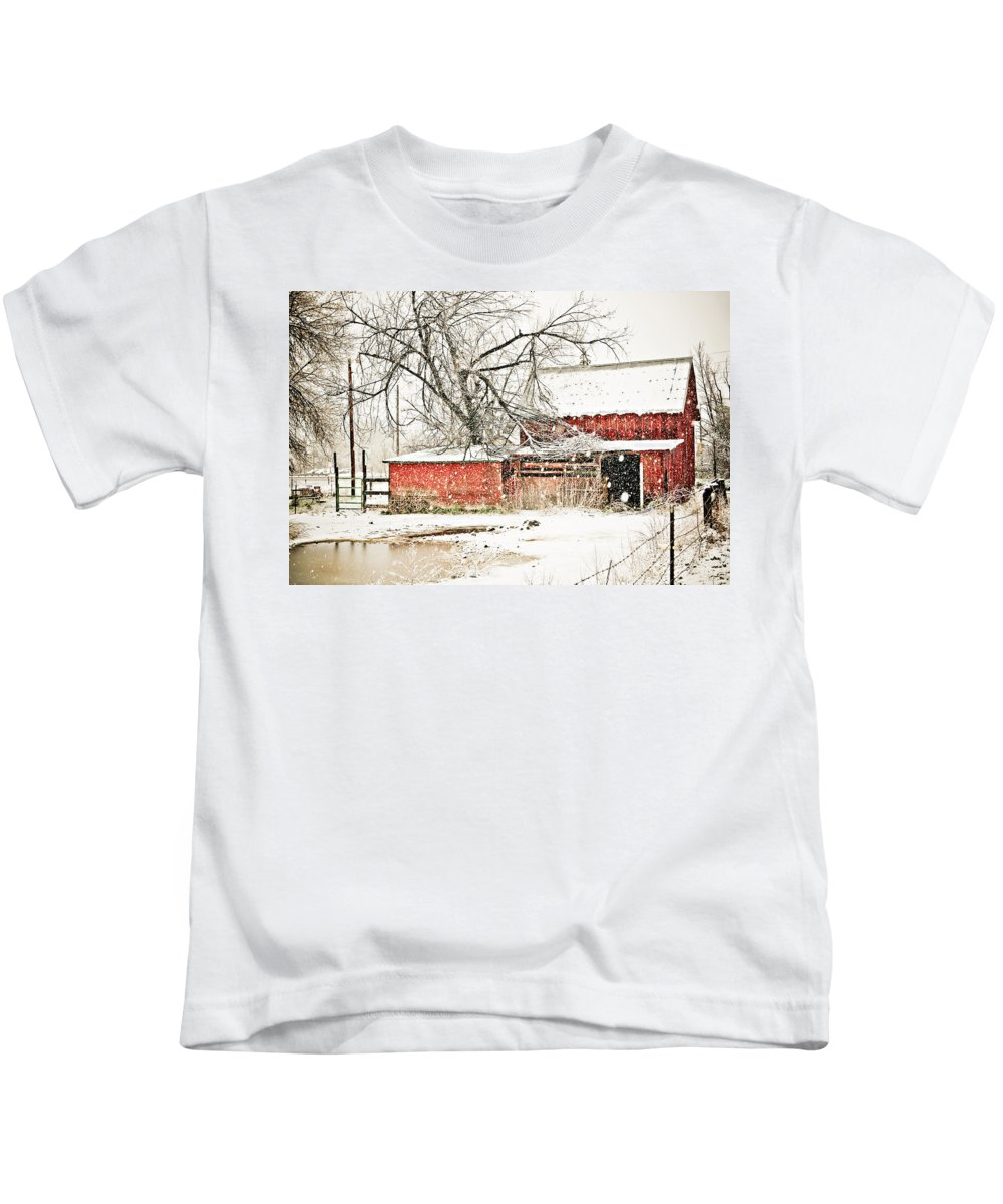 Americana Kids T-Shirt featuring the photograph Barn And Pond by Marilyn Hunt