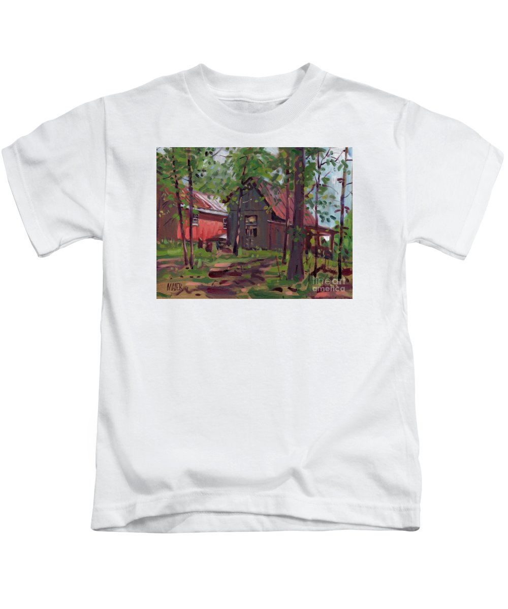 Barn Kids T-Shirt featuring the painting Barns In April by Donald Maier