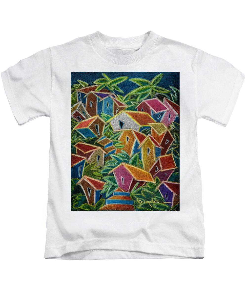 Landscape Kids T-Shirt featuring the painting Barrio Lindo by Oscar Ortiz